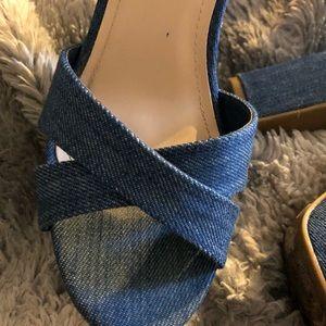 BAMBOO Shoes - Bamboo 70s-inspired Denim Platform Heels